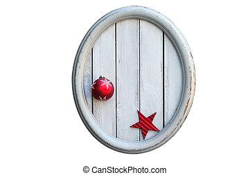 공, 별, 포도 수확, 구조, 타원형, 크리스마스, 빨강