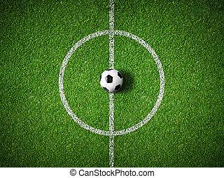공, 센터, 정상, 들판, 배경, 축구, 보이는 상태