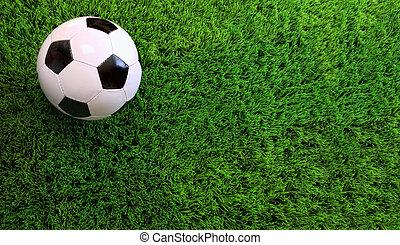 공, 축구, 녹색 잔디