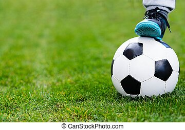공, 축구, /, 발, grass., 아이, 축구