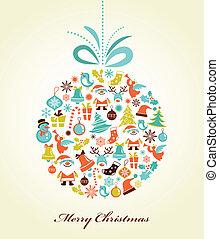 공, 크리스마스, 크리스마스, 배경, retro