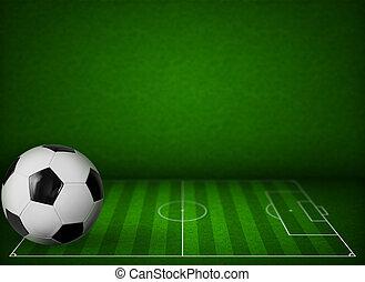 공, 풀, 미식 축구 경기장, 배경, 축구, 또는