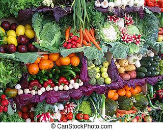 과일, 다채로운, 야채