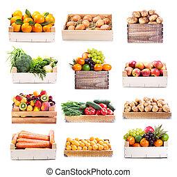 과일, 세트, 여러 가지이다, 야채