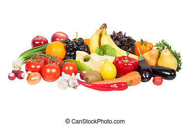 과일, 신선한, 고립된, 야채, 백색
