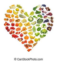 과일, 심장, 야채