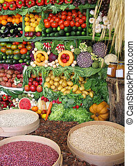 과일, 야채, 다채로운, 콩