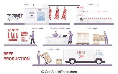 과정, 쇠고기, 고기, infographic, 생산, 공장