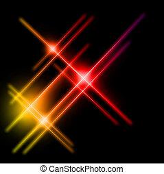 광선, 떼어내다, lights., 황색, 벡터, 빨강