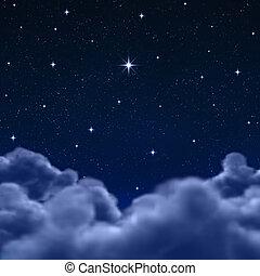 구름, 공간, 하늘, 완전히, 밤, 또는