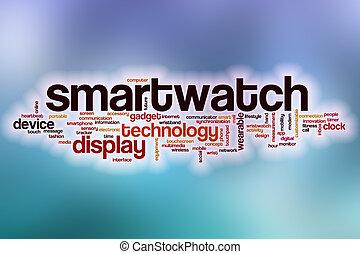 구름, 떼어내다, 낱말, 배경, smartwatch