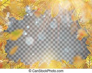 구성된다, 10, 다채로운, 구조, leaves., eps, 가을, 벡터