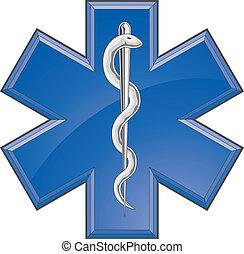 구조 대원, 내과의, 구출, 로고