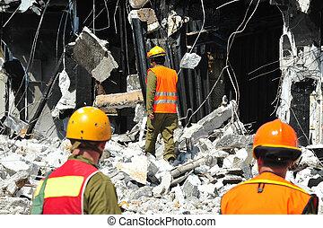 구출, 건물, 완전히, 재해, 파편, 검색, 후에