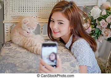 귀여운, 거의, selfie, 소녀, 고양이