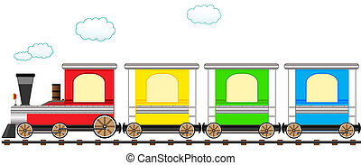귀여운, 기차, 가로장, 만화, 다채로운