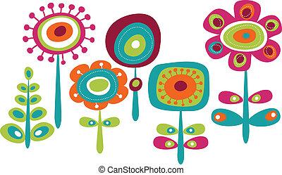 귀여운, 꽃, 다채로운