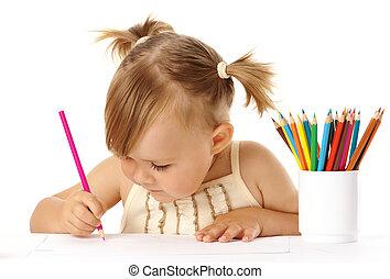 귀여운, 끌기, 아이, 연필