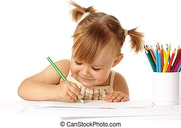 귀여운, 끌기, 연필, 색, 아이, 미소