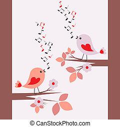 귀여운, 노래하는, 새