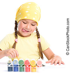 귀여운, 놀이, 아이, 페인트