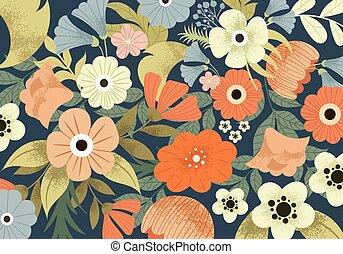 귀여운, 목초지, 패턴, 봄의 꽃, 아름다운