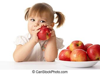 귀여운, 사과, 아이