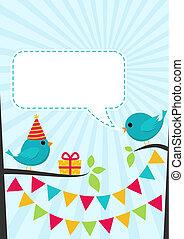 귀여운, 생일, 벡터, 나무, 파티, 새, 카드