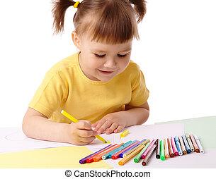 귀여운, 아이, 펜, 끌기, felt-tip