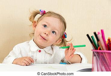 귀여운, 연필, 다채로운, felt-tip, 유치원, 펜, 아이, 테이블, 소녀, 그림, 보육원