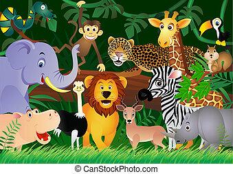 귀여운, 정글, 동물, 만화