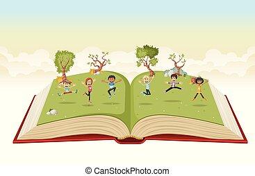 귀여운, 키드 구두, 뛰는 것, 책, 열려라, 만화