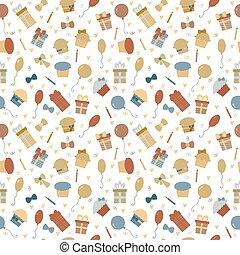 귀여운, elements., 다채로운, 혼자서 젓는 길쭉한 보트, 패턴, seamless, 생일, 디자인, 배경, 파티, 너의, 행복하다