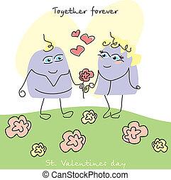 귀여운, valentine`s 날, 카드