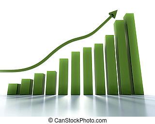 그래프, 경향, 보통의, 전시, 긍정적인