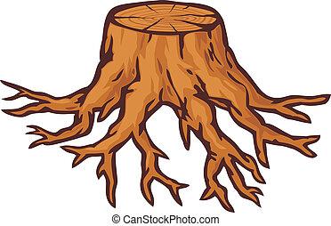 그루터기, 오래되었던 나무, 뿌리