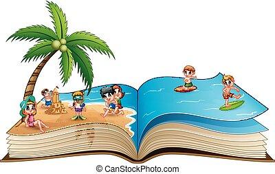 그룹, 바닷가, 아이들, 열대적인, 책, 열려라, 노는 것
