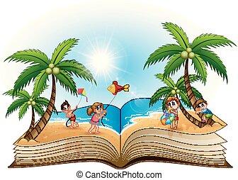 그룹, 열린 책, 바닷가, 아이들, 행복하다
