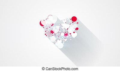 그림자, 심장, 길게, 모양, 생기, 빨간 백색, 고리