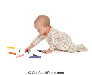 그림, 아기 유아, 착석, 유아, 아이 그림