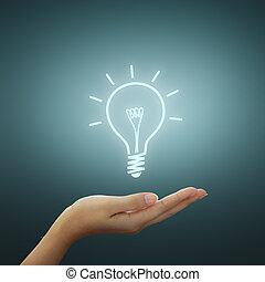그림, 전구, 빛, 생각, 손