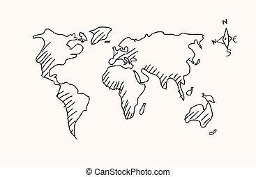 그어진, 손, 세계 지도