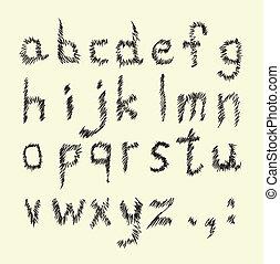 그어진, 손, 알파벳