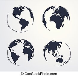 그어진, 손, 지구, 만화, 귀여운