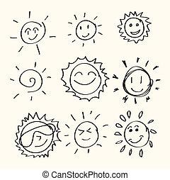 그어진, 손, 태양