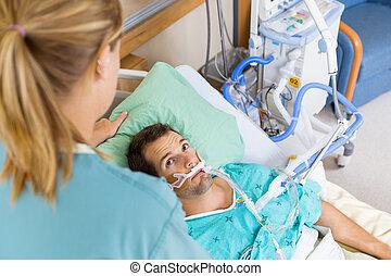 그의 것, 환자, 조정된다, 복합어를 이루어 ...으로 보이는 사람, 그녀, 간호사, 베개