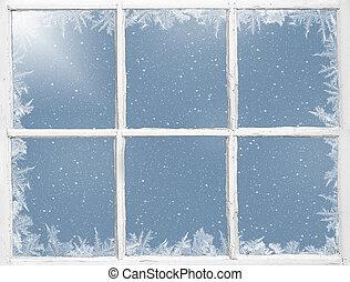극복되는, 서리로 덥는, 창문