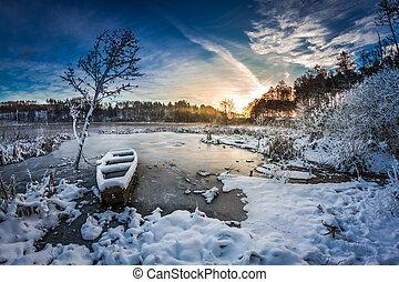 극한의, 겨울, 해돋이, 호수