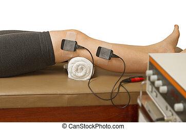 근육, strenght, 환자, stimulator, 고통, 증가, eletrical, 치료, 치료학자, 방출