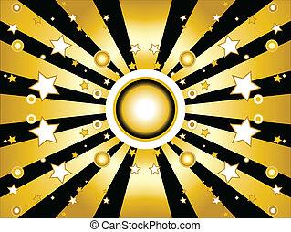금색의 배경, 은 주연시킨다, 태양